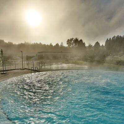 Thermal resort in Austria: outdoor pool, private SPA in autumn